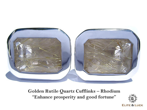 Golden Rutile Quartz Sterling Silver Cufflinks, Rhodium plated, Classic Model