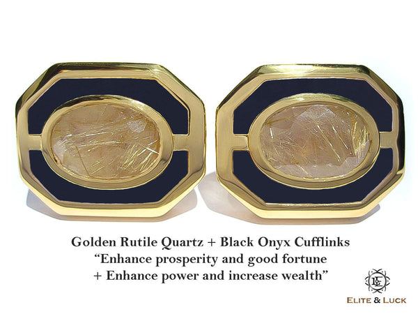 Golden Rutile Quartz + Black Onyx Sterling Silver Cufflinks, 18K Yellow Gold plated, Charming Model