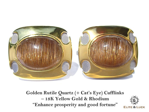 "Golden Rutile Quartz with ""Cat's Eye Effect"" Sterling Silver Cufflinks, 18K Yellow Gold & Rhodium plated, Exclusive Model *** Extremely Exclusive & Rare ***"