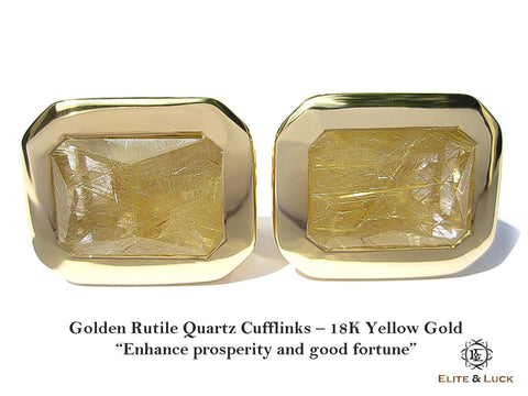 "Golden Rutile Quartz Sterling Silver Cufflinks ""Golden Thread"", 18K Yellow Gold plated, Classic Model"