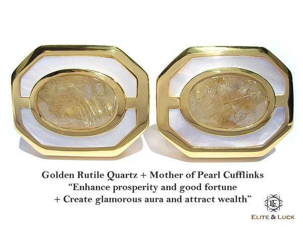 Golden Rutile Quartz + Mother of Pearl Sterling Silver Cufflinks, 18K Yellow Gold plated, Charming Model