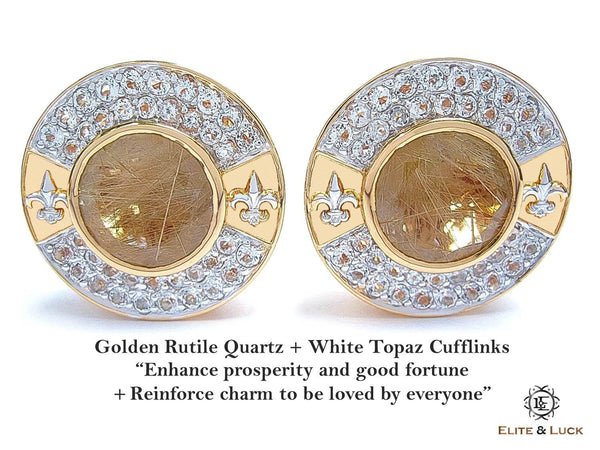 Golden Rutile Quartz + White Topaz Sterling Silver Cufflinks, 18K Yellow Gold & Rhodium plated, Royal Model