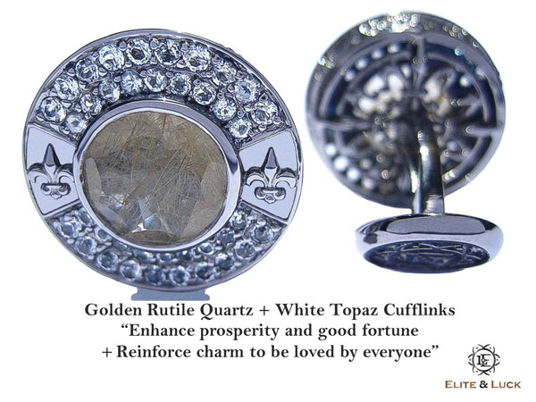 Golden Rutile Quartz + White Topaz Sterling Silver Cufflinks, Black Rhodium plated, Royal Model
