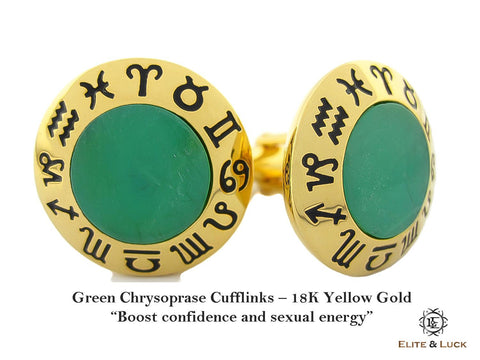 Green Chrysoprase Sterling Silver Cufflinks, 18K Yellow Gold plated, Zodiac Model *** Exclusive Cufflinks for Pisces ***