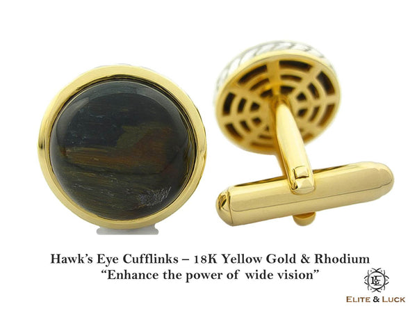 Hawk's Eye Sterling Silver Cufflinks, 18K Yellow Gold & Rhodium plated, Limited Model