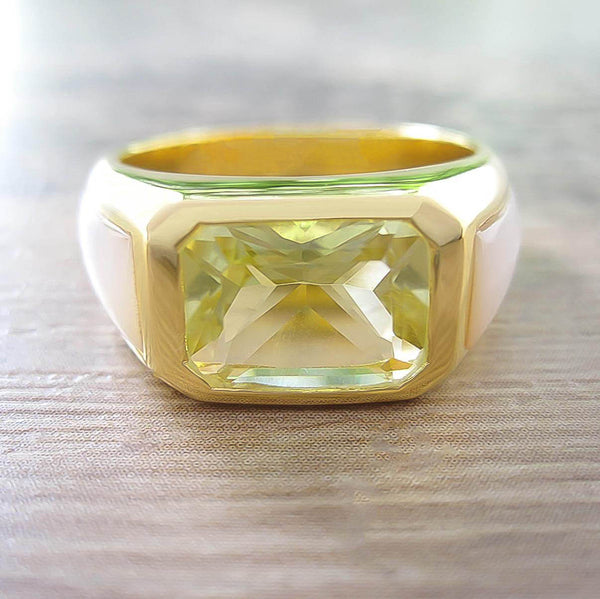 Lemon Quartz + Mother of Pearl Sterling Silver Ring, 18K Yellow Gold plated, Majestic Model
