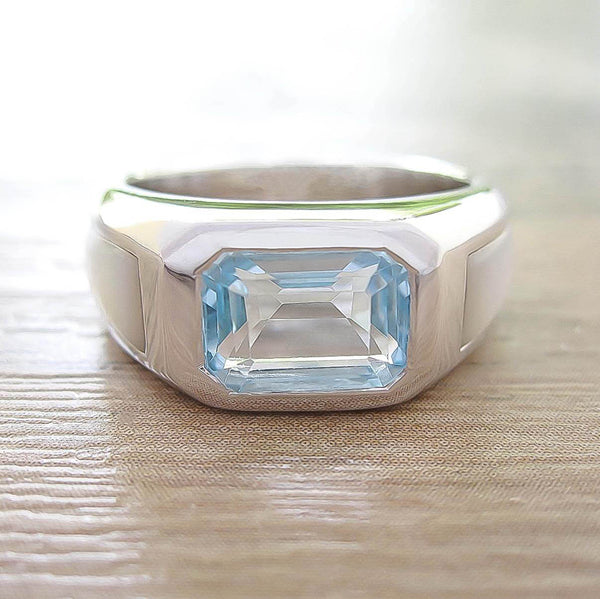 Blue Topaz + Mother of Pearl Sterling Silver Ring, Rhodium plated, Majestic Model