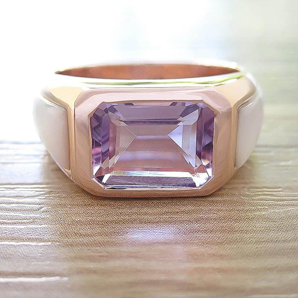 Amethyst + Mother of Pearl Sterling Silver Ring, Rose Gold plated, Majestic Model
