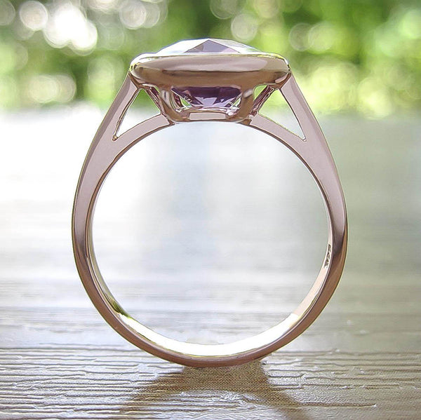Amethyst Sterling Silver Ring, Rose Gold plated, Dashing Model