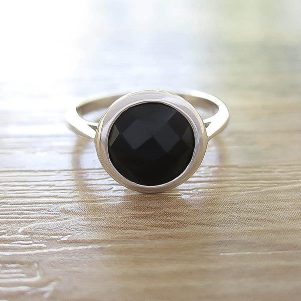 Black Onyx Sterling Silver Ring, Rhodium plated, Dashing Model