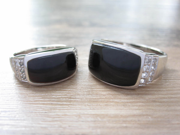 Black Onyx + White Topaz Sterling Silver Ring, Rhodium plated, Noble Model