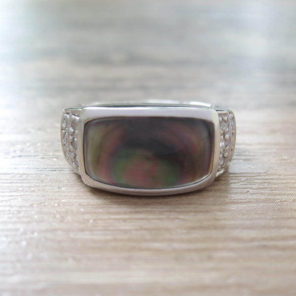 Black Mother of Pearl + White Topaz Sterling Silver Ring, Rhodium plated, Noble Model