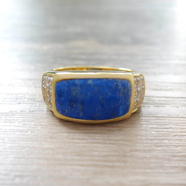 Lapis Lazuli + White Topaz Sterling Silver Ring, 18K Yellow Gold plated, Noble Model