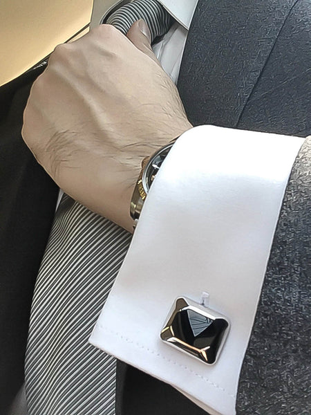 Black Onyx Sterling Silver Cufflinks, Rhodium plated, Modern Model