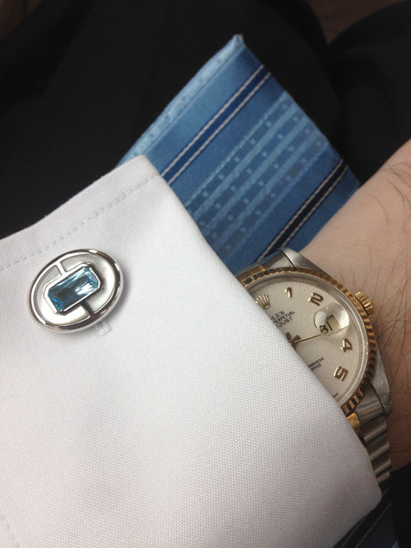 Blue Topaz + Mother of Pearl Sterling Silver Cufflinks, Rhodium plated, Prestige Model