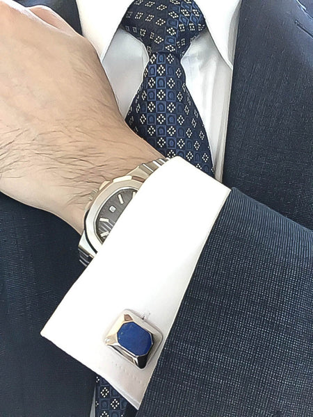 Lapis Lazuli Sterling Silver Cufflinks, Rhodium plated, Modern Model