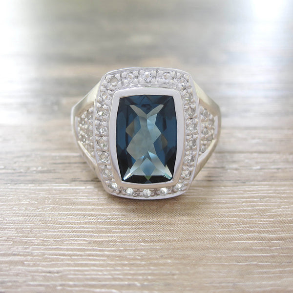 London Blue Topaz + White Topaz Sterling Silver Ring, Rhodium plated, Deluxe Model