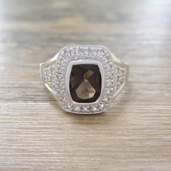 Smoky Quartz + White Topaz Sterling Silver Ring, Rhodium plated, Deluxe Model