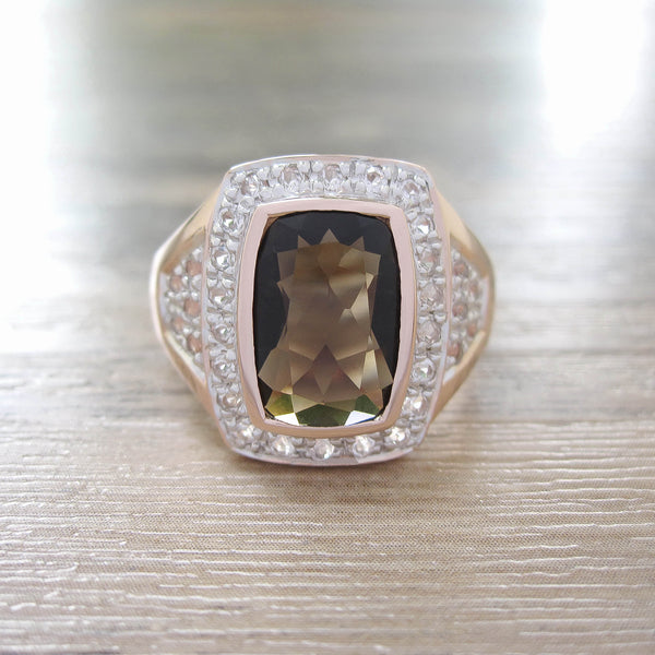 Smoky Quartz + White Topaz Sterling Silver Ring, Rose Gold plated, Deluxe Model