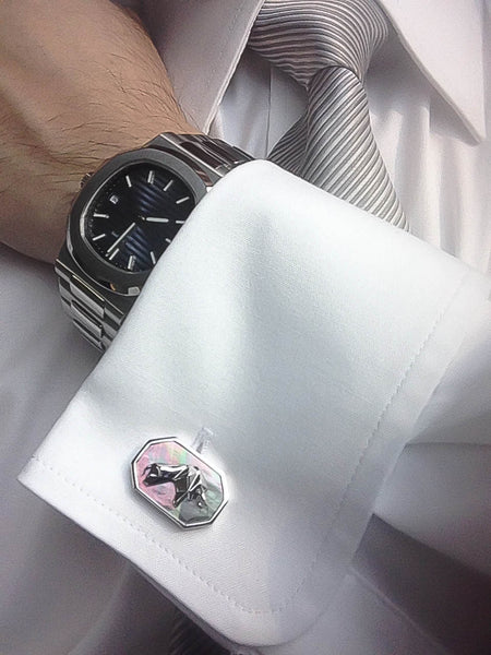 Diamond + Black Mother of Pearl Sterling Silver Cufflinks, Rhodium plated, Bull & Bear Model