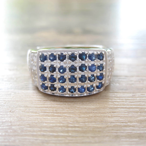 Blue Sapphire + White Topaz Sterling Silver Ring, Rhodium plated, Noble-II Model