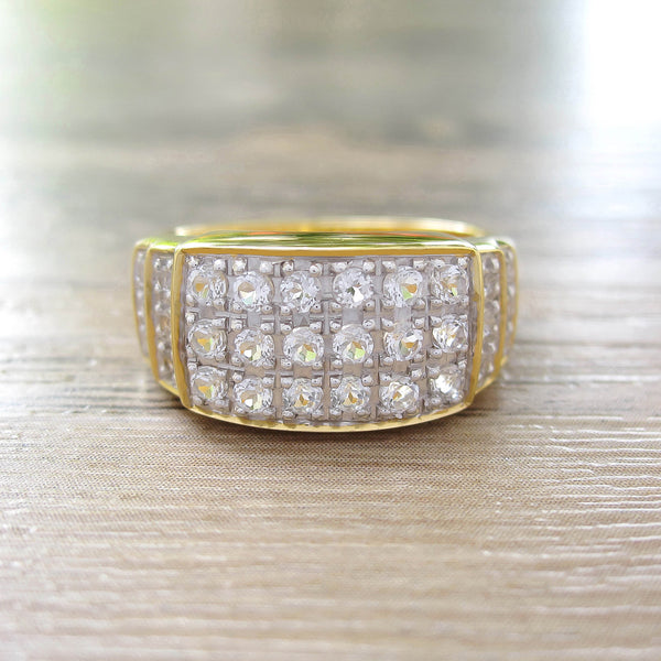 White Topaz Sterling Silver Ring, 18K Yellow Gold plated, Noble-II Model