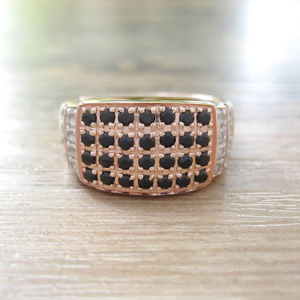 Black Onyx + White Topaz Sterling Silver Ring, Rose Gold plated, Noble-II Model