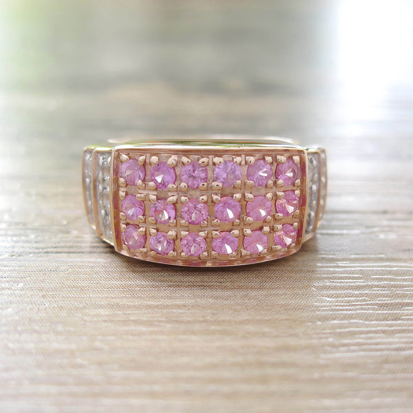 Pink Sapphire + White Topaz Sterling Silver Ring, Rose Gold plated, Noble-II Model