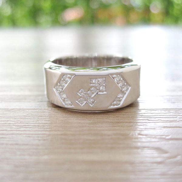 White Topaz Sterling Silver Ring, Rhodium plated, Zodiac Model *** Exclusive for Sagittarius ***