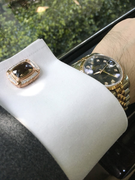 Smoky Quartz Sterling Silver Cufflinks, Rose Gold & Rhodium plated, Luxury Model