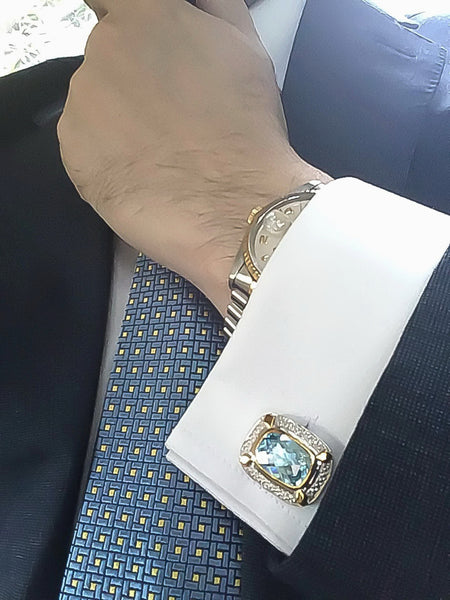 Baby Blue Topaz Sterling Silver Cufflinks, Rhodium & 18K Yellow Gold plated, Luxury Model