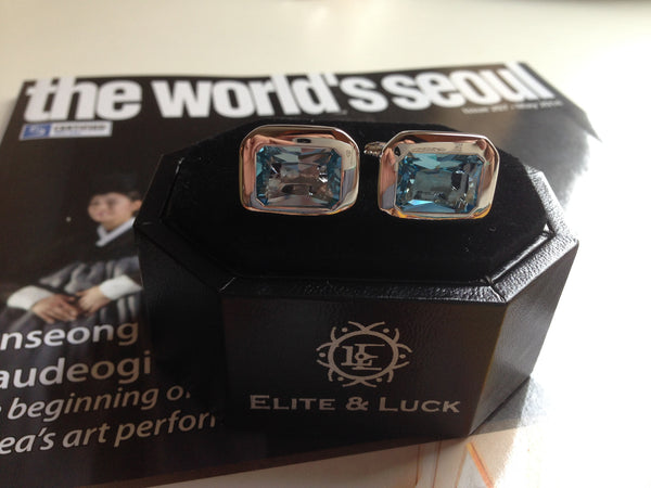 Blue Topaz Sterling Silver Cufflinks, Rhodium plated, Classic Model