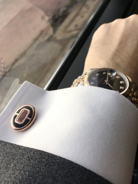 Rose Quartz + Black Onyx Sterling Silver Cufflinks, Rose Gold plated, Prestige Model