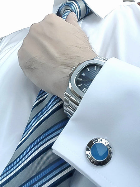 Blue Chalcedony Sterling Silver Cufflinks, Rhodium plated, Zodiac Model *** Exclusive Cufflinks for Cancer ***