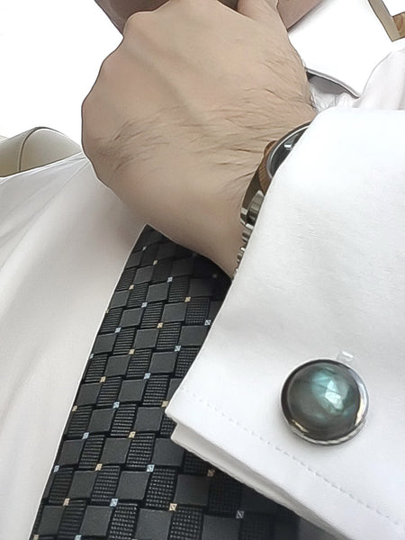 Labradorite Sterling Silver Cufflinks, Black Rhodium & Rhodium plated, Limited Model
