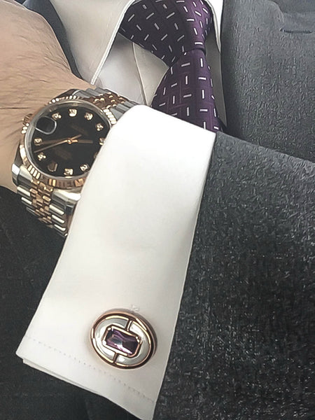 Amethyst + Mother of Pearl Sterling Silver Cufflinks, Rose Gold plated, Prestige Model