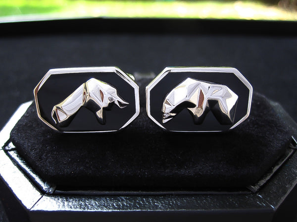 Diamond + Black Onyx Sterling Silver Cufflinks, Rhodium plated, Bull & Bear Model