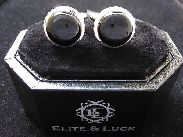 Black Onyx Sterling Silver Cufflinks, Rhodium & 18K Yellow Gold plated, Limited Model