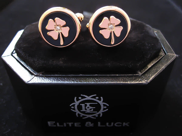 Diamond + Black Onyx Sterling Silver Cufflinks, Rose Gold plated, Lucky Model