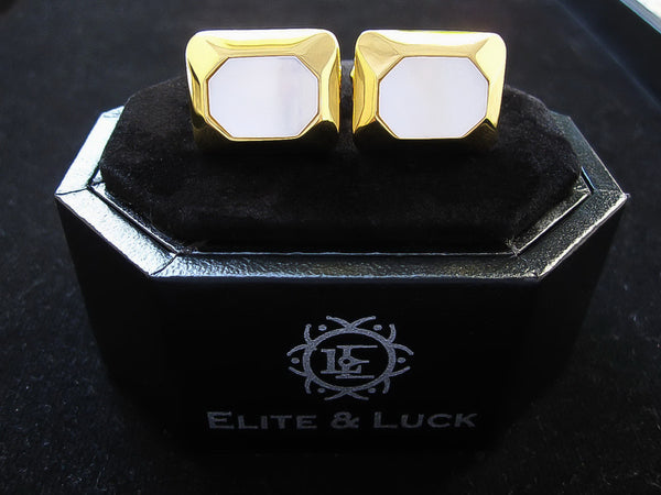 Mother of Pearl Sterling Silver Cufflinks, 18K Yellow Gold plated, Modern Model