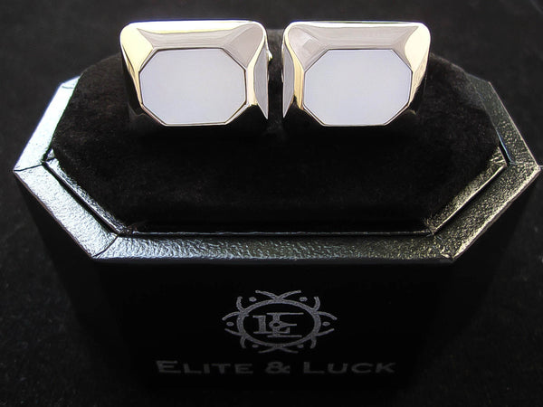 Mother of Pearl Sterling Silver Cufflinks, Rhodium plated, Modern Model