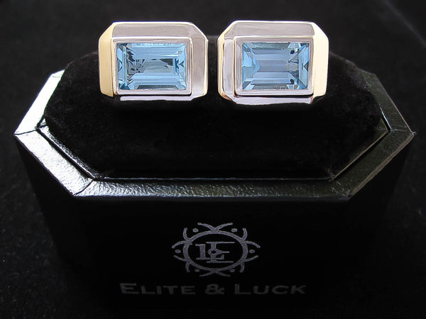 Blue Topaz Sterling Silver Cufflinks, Rhodium plated, Elite Model