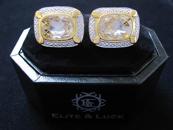 Crystal Quartz Sterling Silver Cufflinks, 18K Yellow Gold & Rhodium plated, Luxury Model