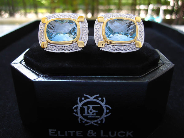 Blue Topaz Sterling Silver Cufflinks, Rhodium & 18K Yellow Gold plated, Luxury Model