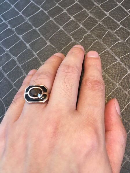Smoky Quartz + Black Onyx Sterling Silver Ring, Rhodium plated, Charming Model