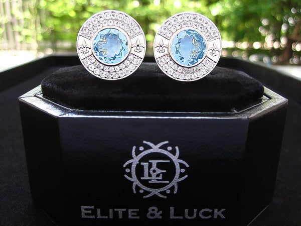 Blue Topaz + White Topaz Sterling Silver Cufflinks,  Rhodium plated, Royal Model