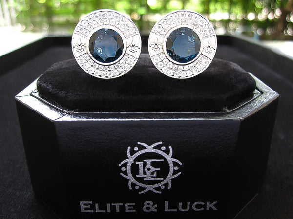 London Blue Topaz + White Topaz Sterling Silver Cufflinks, Rhodium plated, Royal Model