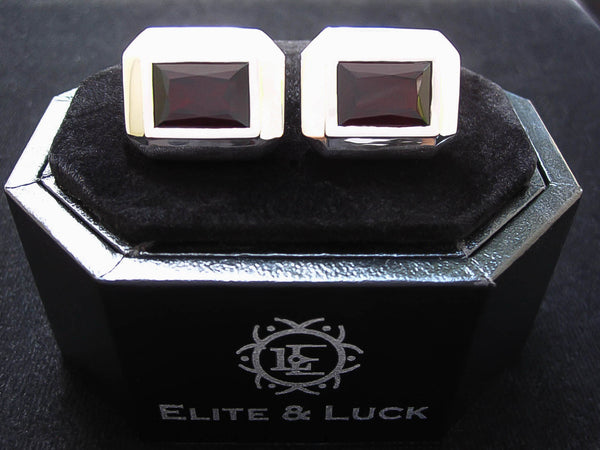 Garnet Sterling Silver Cufflinks, Rhodium plated, Elite Model