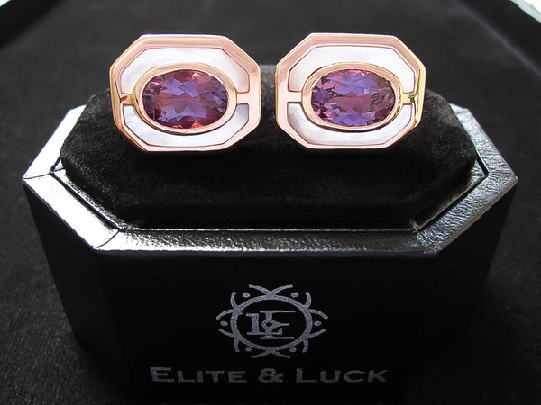 Amethyst + Mother of Pearl Sterling Silver Cufflinks, Rose Gold plated, Charming Model