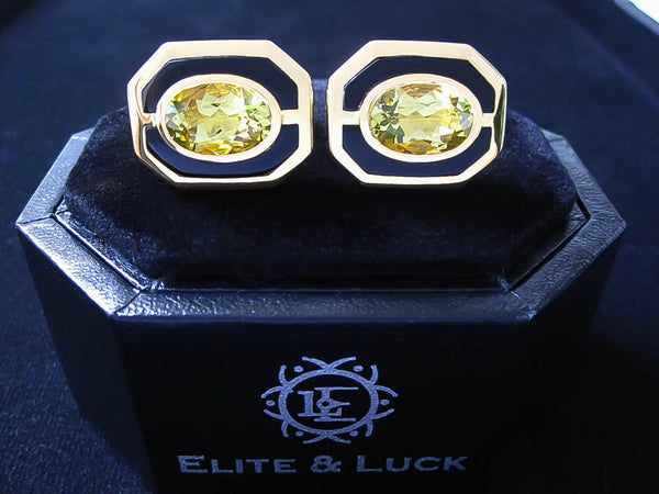 Lemon Quartz + Black Onyx Sterling Silver Cufflinks, 18K Yellow Gold plated, Charming Model